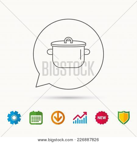 Pan Icon. Cooking Pot Sign. Kitchen Tool Symbol. Calendar, Graph Chart And Cogwheel Signs. Download
