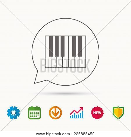 Piano Icon. Royal Musical Instrument Sign. Calendar, Graph Chart And Cogwheel Signs. Download And Sh