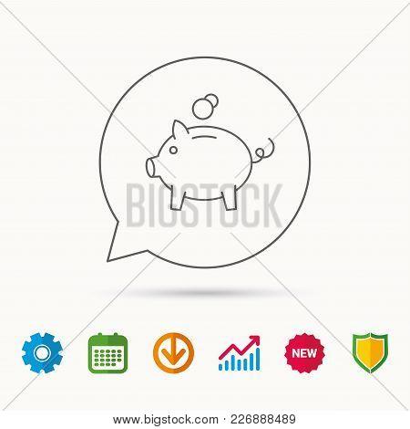 Piggy Bank Icon. Money Economy Sign. Financial Investment Symbol. Calendar, Graph Chart And Cogwheel