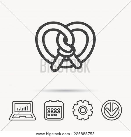 Pretzel Icon. Bakery Food Sign. Traditional Bavaria Snack Symbol. Notebook, Calendar And Cogwheel Si