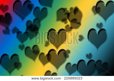 Colorful Heart Shapes Drawn On  A Colorful Gradient.concept Of Valentine's Day.;