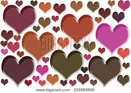 Colorful Heart Shapes Drawn On White Background.