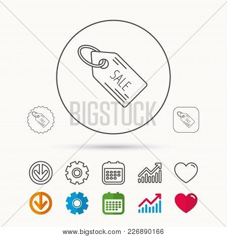 Sale Shopping Tag Icon. Discount Label Sign. Calendar, Graph Chart And Cogwheel Signs. Download And