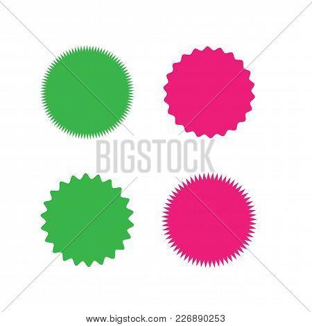 Set Of Vector Starburst, Sunburst Badges. Different Color. Simple Flat Style Vintage Labels. Design