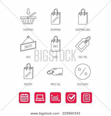 Shopping Cart, Gift Bag And Sale Coupon Icons. Special Offer Label Linear Signs. Discount Icon. Repo