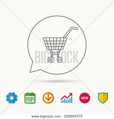 Shopping Cart Icon. Market Buying Sign. Calendar, Graph Chart And Cogwheel Signs. Download And Shiel