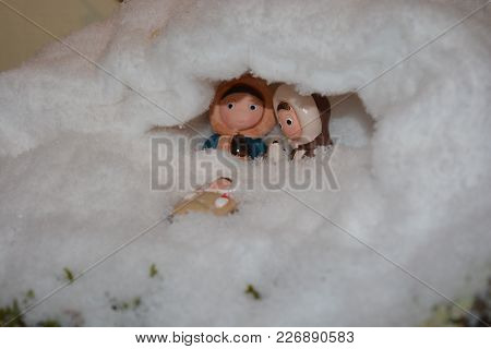 Zoom On Christmas Figurines And Christmas Ornament