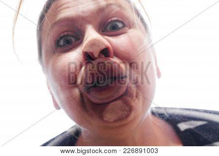 Woman Making A Fish Mouth