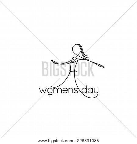 Female Line Art Dancing Girl On White Background With Typography Vector Illustration Design.