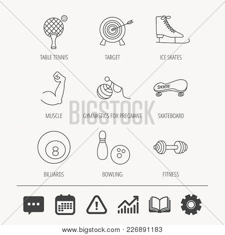 Target, Table Tennis And Fitness Sport Icons. Skateboard, Muscle And Bowling Linear Signs. Ice Skate