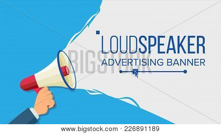 Megaphone In Human Hand Vector. Elections Symbol. Bullhorn. Banner For Business, Promotion. Flat Car