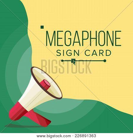 Megaphone Banner Vector. Elections Symbol. Banner For Business, Promotion. Flat Cartoon Illustration