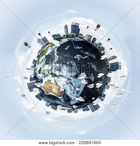 Panoramic View Of Earth Globe With Skyscrapers On Its Surface. Ecology And Environmental Protection