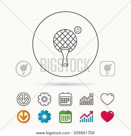Table Tennis Icon. Ping Pong Sign. Professional Sport Symbol. Calendar, Graph Chart And Cogwheel Sig