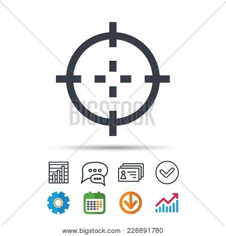 Target Icon. Crosshair Aim Symbol. Statistics Chart, Chat Speech Bubble And Contacts Signs. Check We