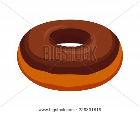 Vector Tasty Donut With Chocolate Glaze. Pastry, Cake With Icing-sugar, Cream. Made In Cartoon Flat