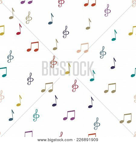 Seamless Pattern Background With Music Notes. Teble Clef Vector Illustration.