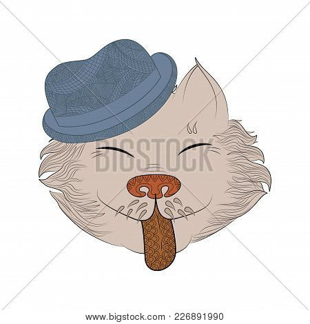 Zen Tangle Cat In Hat. Doodle Feline Head Vector Illustration. Coloring Book For Adult.