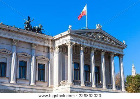 Austrian Parliament Building Facade, It Was Erected Between 1893 And 1902 By Carl Kundmann, Josef Ta