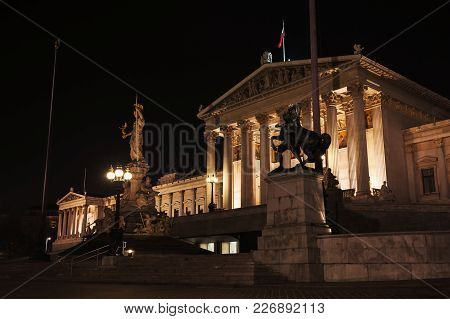 Austrian Parliament At Night, Was Erected Between 1893 And 1902 By Carl Kundmann, Josef Tautenhayn,