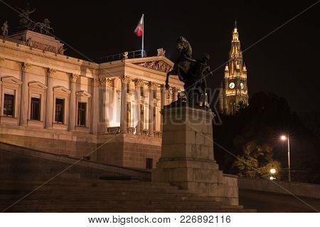 Night Photo Of Austrian Parliament, Was Erected Between 1893 And 1902 By Carl Kundmann, Josef Tauten