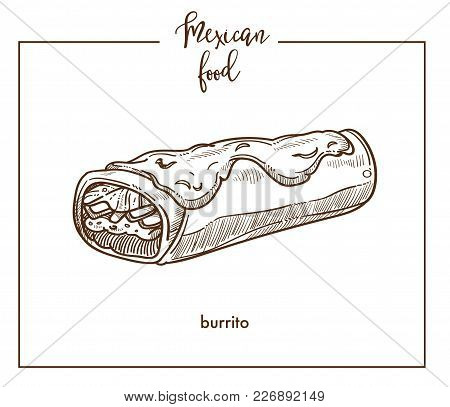 Burrito Sketch Icon For Mexican Food Cuisine Menu Design. Vector Sketch Of Mexico Traditional Burrit