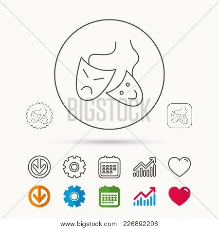 Theater Masks Icon. Drama And Comedy Sign. Masquerade Or Carnival Symbol. Calendar, Graph Chart And