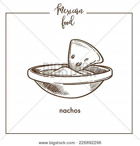 Nachos Chips Sketch Icon For Mexican Food Cuisine Menu Design. Vector Sketch Of Mexico Traditional N