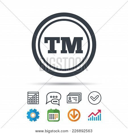 Registered Tm Trademark Icon. Intellectual Work Protection Symbol. Statistics Chart, Chat Speech Bub