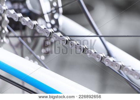 Frankfurt / Germany - Jul 15 2017: Mountain Bike Wheel Detail With Bike Gear And Chain Shimano Deore