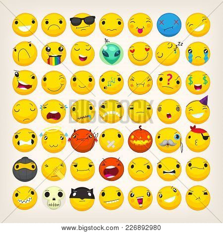 Set Of Yellow Emoji And Emoticons With Different Facial Expressions Dressed Up In Costumes For Holid