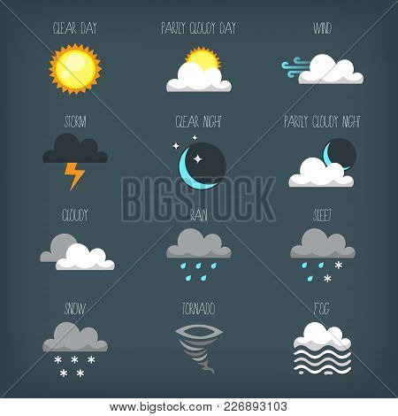 Set Of Vector Weather Forecast Icons And Signs. Images With Different Weather Types During Different