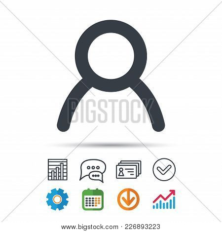 User Icon. Human Person Symbol. Avatar Login Sign. Statistics Chart, Chat Speech Bubble And Contacts