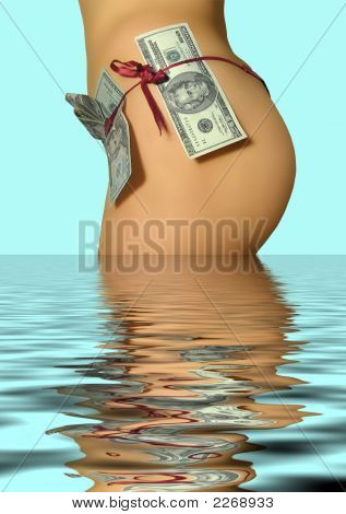 Women`S Back With A Money In A Water