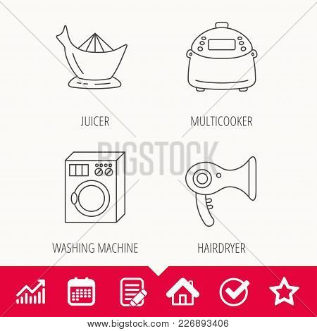 Washing Machine, Multicooker And Hair Dryer Icons. Washing Machine Linear Sign. Edit Document, Calen
