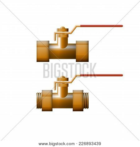 Brass Shut-off Valve Vector Illustration. Heating System.