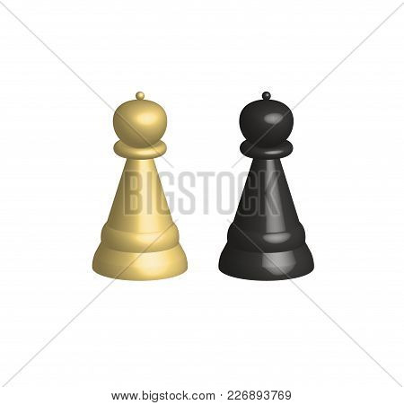 3d Chess Pieces On White Background. 3d Chess Pieces Sign. Black And White Chess Piece Pawn In 3d St