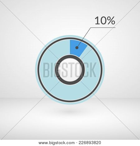10 Percent Pie Chart Isolated Symbol. Percentage Vector Infographics. Circle Diagram Sign. Business