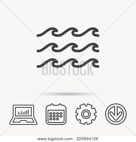 Waves Icon. Sea Flowing Sign. Water Symbol. Notebook, Calendar And Cogwheel Signs. Download Arrow We