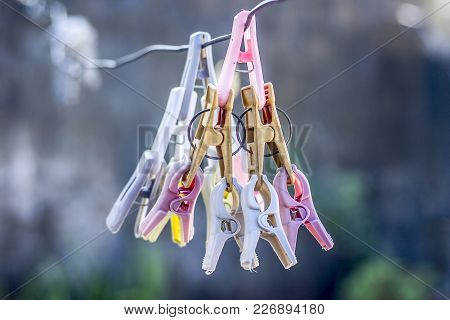 Colorful Clothes Pin Or Clothes Peg On The Washing Line.