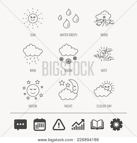 Weather, Sun And Rain Icons. Moon Night, Clouds And Mist Linear Signs. Wind, Cloudy Day And Water Dr