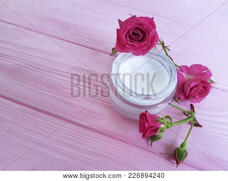 Cosmetic Cream, Roses, Pink Wooden Rose Pattern, Body, Protection