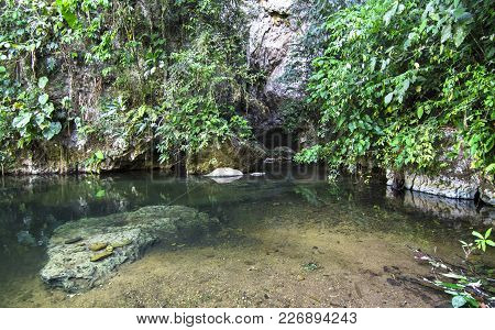 The Bladen River In Belize Flows Through Dense Jungle And Massive Rock Cliffs. It Is One Of The Most