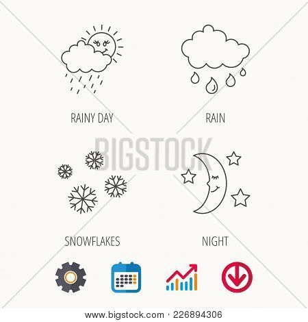 Weather, Snowflakes And Rain Icons. Moon Night Linear Sign. Calendar, Graph Chart And Cogwheel Signs