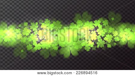 Seamless Border With Fourleaf Clover And Sparkle. St.patricks Day. Vector Element For Covers, Frames
