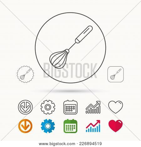 Whisk Icon. Kitchen Tool Sign. Kitchenware Whisking Beater Symbol. Calendar, Graph Chart And Cogwhee