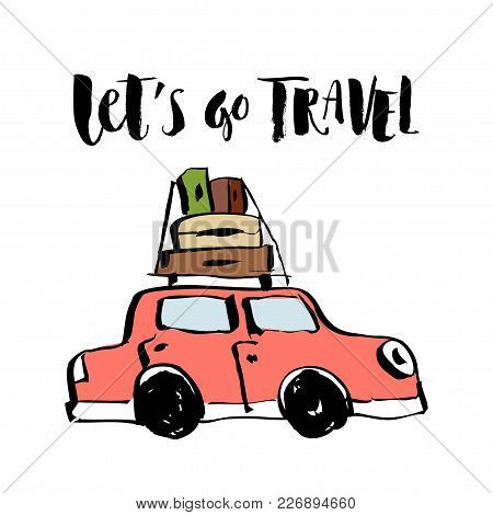Isolated On White Background Sketch. Red Car That Travels With Suitcases With Things On The Roof