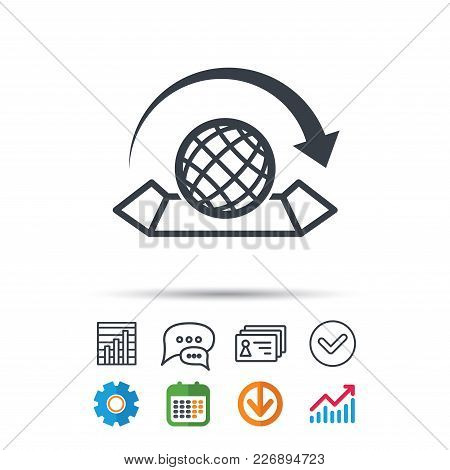 World Map Icon. Globe With Arrow Sign. Travel Location Symbol. Statistics Chart, Chat Speech Bubble