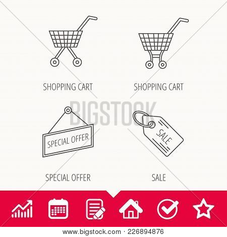 Shopping Cart, Special Offer And Sale Coupon Icons. Sale Linear Signs. Edit Document, Calendar And G
