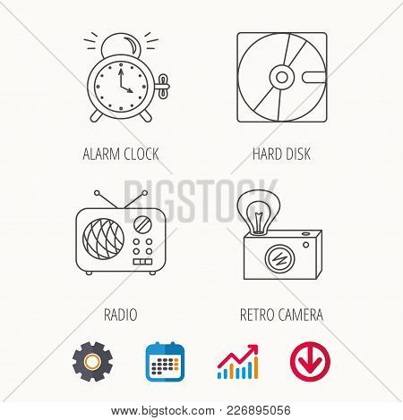 Radio, Retro Camera And Alarm Clock Icons. Hard Disk Linear Sign. Calendar, Graph Chart And Cogwheel